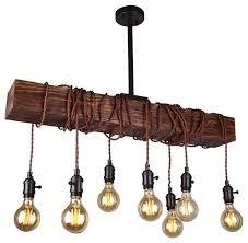 8 light wood beam kitchen island lighting