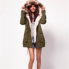 army green women winter faux fur hooded outerwear overcoat large size thick coat parkas s m l xl