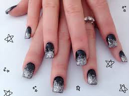 Black & Silver Acrylic Nail Design | Nails By Me | Pinterest ...