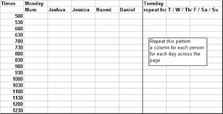 Daily Time Table Routine Writing A Daily Routine