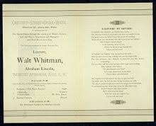 o captain my captain  my captain whitman s lecture on lincoln invitation 1886