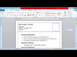 Types Of Bio Data How To Create Professional Type Bio Data Information Technology Video