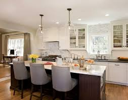kitchen glass pendant lighting. Beautiful Kitchen With Large Clear Glass Bell Jar Pendants Over Brown Island Accented . Pendant Lighting I
