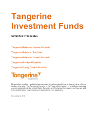 Tangerine Investment Funds Simplified Prospectus