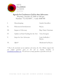 Agenda For Conference Call For Arts Advocates