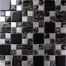 silver stainless steel black crystal glass tile backsplash ideas bathroom le mosaic patterns metal kitchen wall