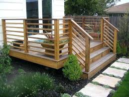 horizontal deck railing ideas garden patio simple wood railings with stairs diy