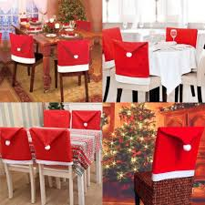 kitchen chair back covers. LOHOME® Santa Hat Chair Covers, Set Of 4 PCS Clause Red Back Covers Kitchen Sets For Christmas Holiday Festive Decor