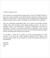 recommendation sample high school student recommendation letter sample theailene co