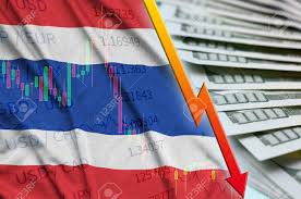 Thailand Stock Chart Thailand Flag And Chart Falling Us Dollar Position With A Fan