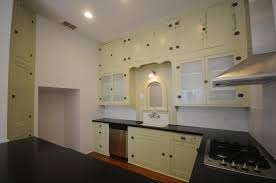 image of antique kitchen hutch with glass doors