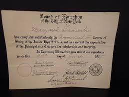 High School Deploma Vintage Junior High School Diploma 1937 Nyc Board Of Education Jhs