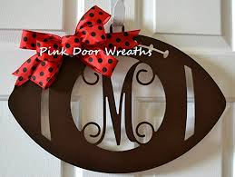 front door monogramAmazoncom Wooden Sports Football Monogram Initial Letter Outdoor