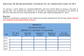 Solved Exercise 10 2a Amortization Schedule For An Instal