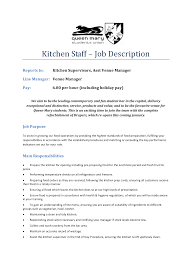 chef job description resume