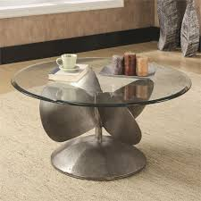 image is loading coaster round glass top coffee table in aged