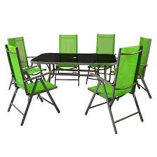 7 Teiliges Gartenmöbel Set Alu Grün Gartengarnitur Aus Gartenstühlen