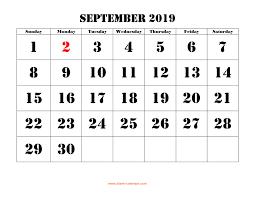 Calendar 2019 Printable With Holidays Free Download Printable September 2019 Calendar Large Font Design