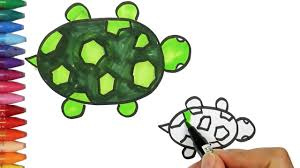 Small Picture How to drawing and coloring Turtle How to Draw and Color Kids TV