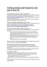 Invitation Letter Format For Visitor Visa Gallery Letter Samples