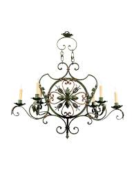 green painted iron chandelier