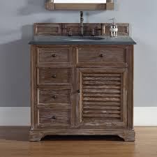 Savannah 36 inch Bathroom Vanity in Driftwood Finish Black Rustic
