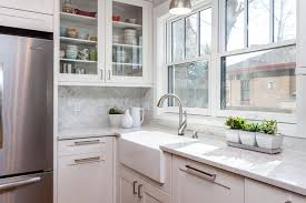 white shaker kitchen cabinet. White Cabinets, Farm House Sink In Mid Century Modern Kitchen Remodel Denver Shaker Cabinet