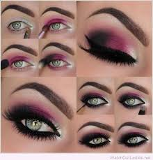 there are a number of shades of purple you can use the darker shades with thick black eye liner to enhance the beauty of your green eyes