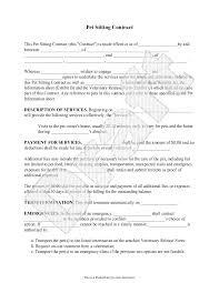 Free Pet Sitting Contract And Veterinary Release Form Pinteres