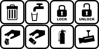 ゴミ箱と水道と施錠開錠とゴミ捨てと消化器と防犯カメラのピクトグラム