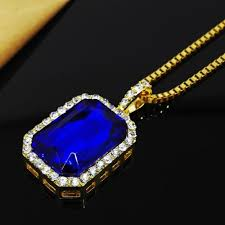 whole 2018 new bling faux lab blue stone pendant necklace gold color rock rap hip hop jewelry red pendant necklace custom jewelry from destination 3