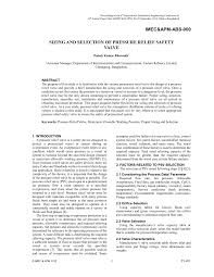 Pdf Sizing And Selection Of Pressure Relief Safety Valve
