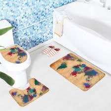2018 bathroom mat set map colorful pattern bath rug anti slip bathroom mat and toilet sets s from hobarte 23 89 dhgate com