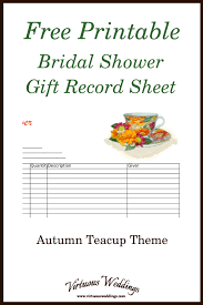 Printable Bridal Shower Gift List Template Autumn Themed Teacup Bridal Shower Gift Record Sheet Free