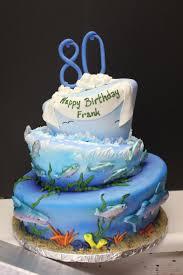 Decorated Birthday Cakes 80th Fish Themed Birthday Cake Xtra Special Cakes