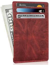 access denied slim minimalist wallets for men women genuine leather credit card holder front pocket rfid blocking wallet with gift box com