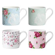 new country roses assorted modern casual mugs set of   royal