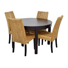 macys ikea round black dining table set with four chairs