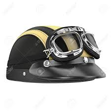 leather motorcycle helmet with goggles 3d graphic object on white background isolated stock photo