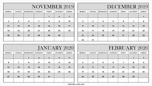 Blank Dec 2020 Calendar Blank Calendar 2019 November December 2020 January February