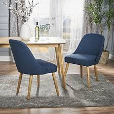 trimay mid century navy blue fabric dining chair set of s