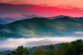 beautiful sunset photo in the great smoky mounns national park