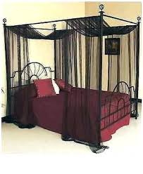 Black Canopy Bed Curtains Drapes Bedroom Queen Full Size Netting ...