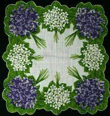 Vintage Burmel Original Irish Linen Handkerchief <b>Floral Violet</b> ...