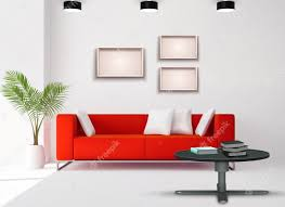 living room space image with red sofa