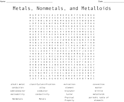 Chart Of Metals Nonmetals And Metalloids Metals Nonmetals And Metalloids Word Search Wordmint