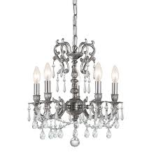 crystorama gramercy 5 light mini chandelier in pewter clear crystal hand cut 5525 pw cl mwp