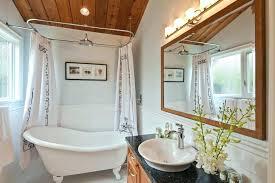 claw foot showers shower curtains tub curtain ideas bathroom transitional with wood frame mirror freestanding bathtub