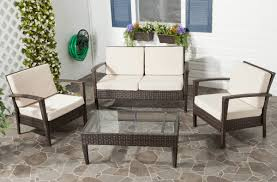brown wicker outdoor furniture dresses: with weather resistant aluminum frame for stability and brown pe wicker for easy care and long wear this set is upholstered