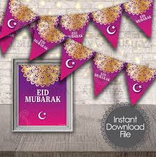 Kushiya Designs Eid Mubarak Bunting Flags Decorative Print Eid